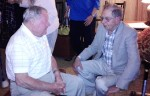 old friends talk at reunion