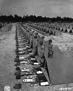 Second Army Tennessee Maneuvers. The Layout. Company F, 347th Inf Reg., 87th Inf. Division, stands by for inspection by the Commanding General, Major General Percy Clarkson. (8 May 43) Signal Corps Photo: 164-007-43-989 (Sgt. J. A. Grant)